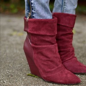 ShoeMint💕Wine Suede Leather Wedge Pointed Bootie